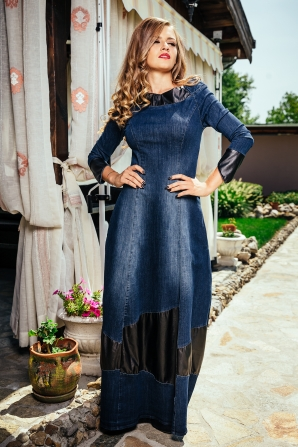 Long jeans dress with leather elements Avangard