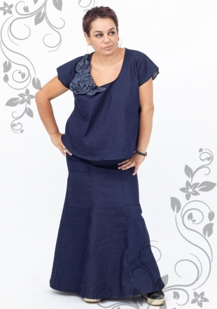 Set maxi de denim fusta si tunica denim Ilina