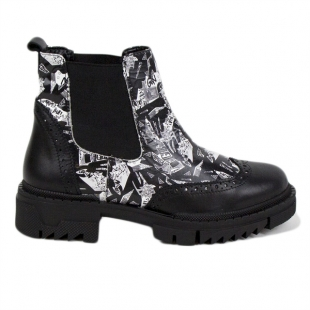 Women's black and white print leather boots 20419