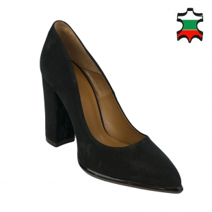 Women's black suede leather pointed shoes 32222