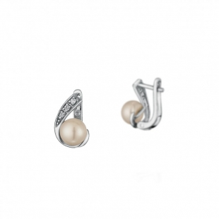 Silver earrings with white pearls and zirconium CAA020 Swan