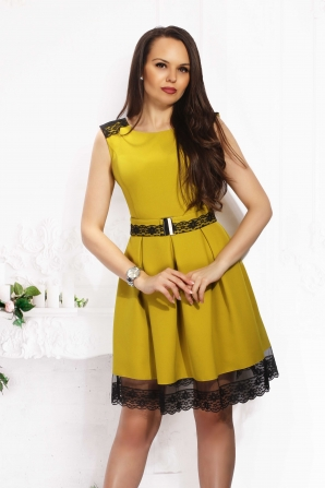 Lady's dress cut mustard color with lace