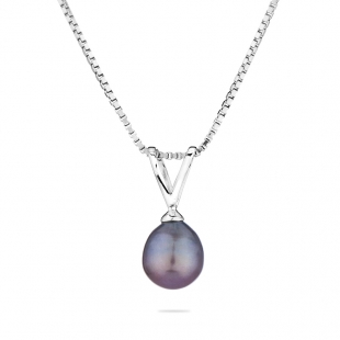 Silver necklace with freshwater black pearl GP016R Swan