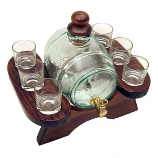 Barrel with Fountain and 6 Glasses Put on a Stand Roura Decoration