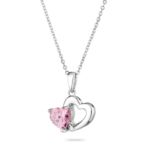 Silver heart pendant necklace with pink zircon END772N Swan