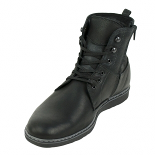 Men's black leather boots 32706