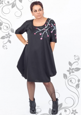 Maxi dress tunic with flower decoration Ilina