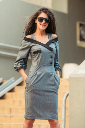 Dress in gray with dropped shoulders and pockets Avangard