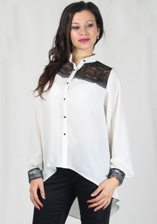 Elegant ecru shirt with black lace RUMENA