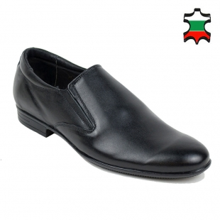 Men's black leather evening shoes with elastics