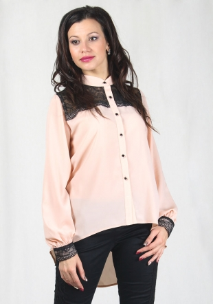 Elegant light peach shirt with black lace RUMENA
