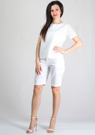 Ladies white lace front top with short sleeves RUMENA