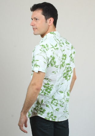 Short sleeve shirt on green florals