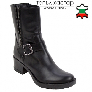Wome's black leather high boots 20443