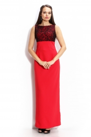 Long formal color coral dress with black lace