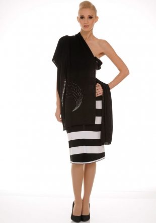 Elegant and Stylish Dress and Scarf in Black and White Z-2011/2012