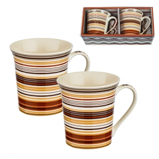Two Coffee/Tea Mugs Set With Decoration New Wish