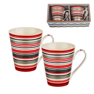 2 Coffee/Tea Mugs Set With Colored Stripes New Wish
