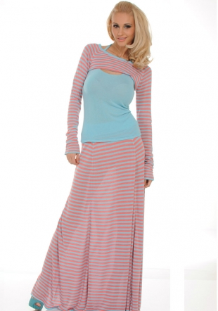 Set of Top, Bolero Blouse and Skirt in Blue and Pink Colours Z-2011