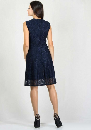 Blue lace dress with V-neck RUMENA