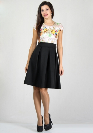 Black skirt with flowers print top dress RUMENA