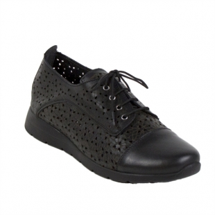 Women black shoes with leather 983-Nero