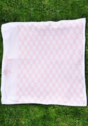 Pink checked wooven blanket with Mickey Mouse