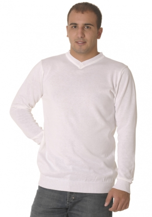 V neck white sweater Z09/10