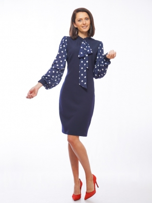 Women's dark blue dress with white dots 72010-402-432