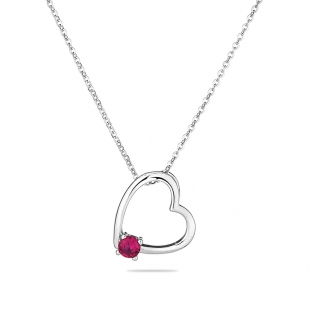 Silver heart pendant necklace with red zircon END607NR Swan