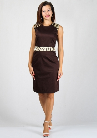 Brown dress with tiger elements on shouldres and belt RUMENA
