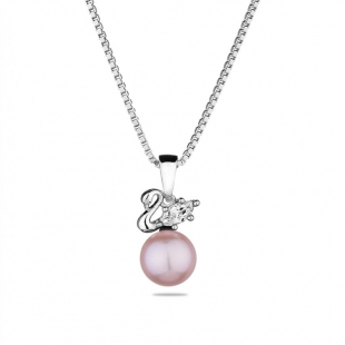 Silver necklace with natural pink pearl and zircon CAA088NR Swan