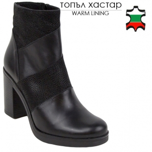 Women's black leather boots decorated with black net 20446