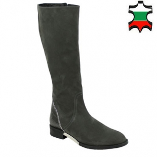 Women's boots casual grey real leather nubuck