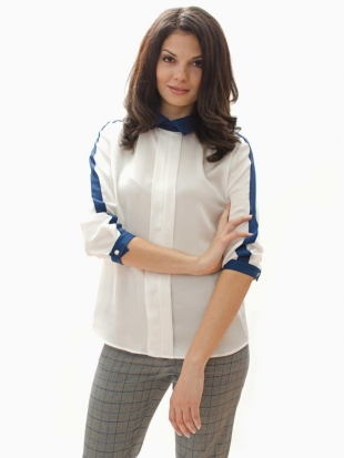 Women's white blouse with blue edging and collar 81924-400-100