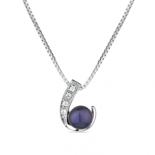 Silver necklace with natural black pearl and zircons CAA020NB Swan