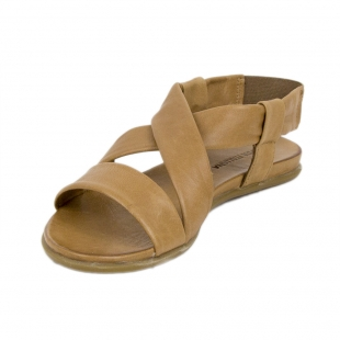 Women's beige leather sandals with elastic 19242