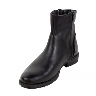 Men's black leather boots with decorative small zipper 32817