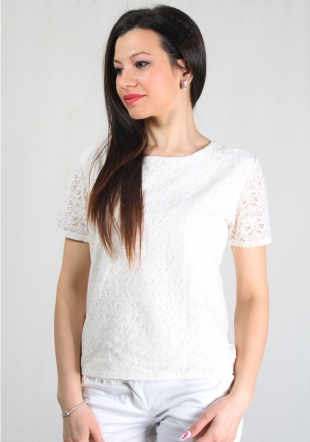 Ladies short sleeves top with lace front RUMENA
