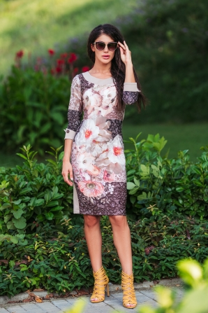Elegant dress with flowers with contrasting cuffs Avangard