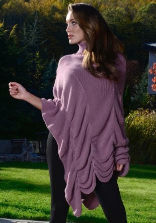 Ladies woven asymetric pink poncho Zfashion