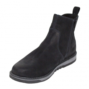 Men's black nubuck leather boots with warm lining 34173