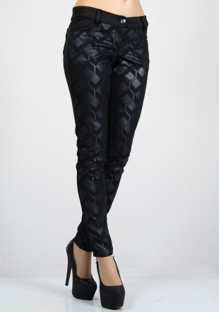 Romb elements front black trousers RUMENA