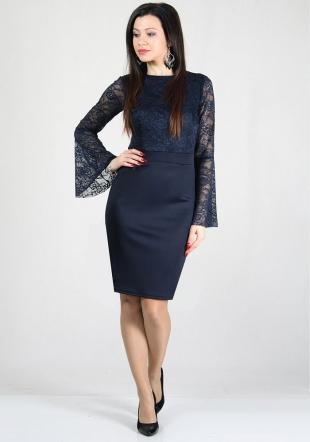 Evening blue lace top dress with funnel sleeves RUMENA