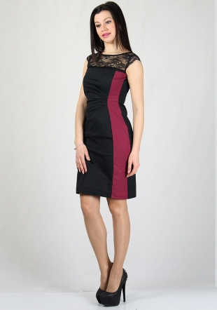 Black dress with fine cyclamen tartan contrast RUMENA