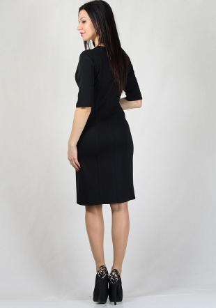 Black dress with white floral contrast on front RUMENA