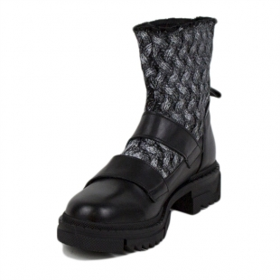 Women's black leather boots with textile 20411
