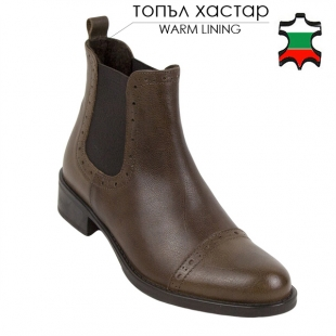Women's brown leather boots with lazer decoration 20445