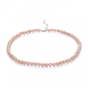 Fresh water pink pearls necklace 6.5-7mm R0436NR Swan