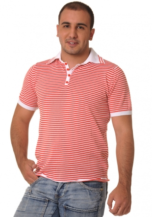 Red striped shortsleeve wooven top Z-10